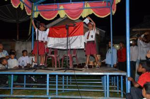 HUT ke 70 RI, Pawai Obor di Desa Kuala Alam Meriah