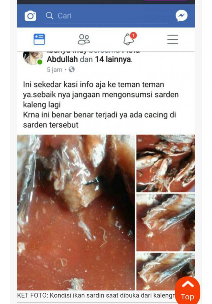 Heboh di Medsos, Warga Selatpanjang Temukan Cacing Pita di Dalam Kaleng Sardin