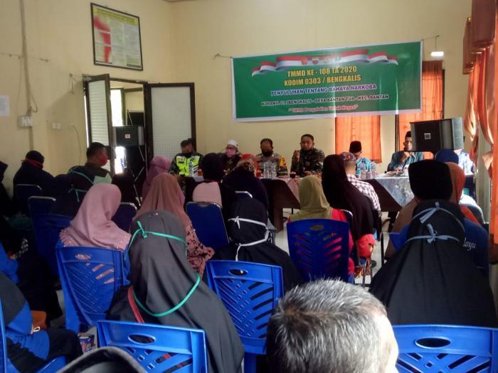 Satgas TMMD Koramil 01/Bengkalis Beri Penyuluhan Bahaya Narkoba di Desa Bantan Tua