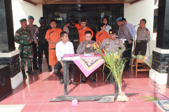 Polres Inhu Rilis Pengungkapan Kasus Perbankan, Karhutla dan Pembunuhan